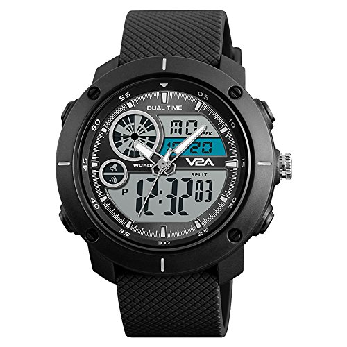 V2A S-Shock Black Analogue-Digital Sport Watches for Men's and Boys
