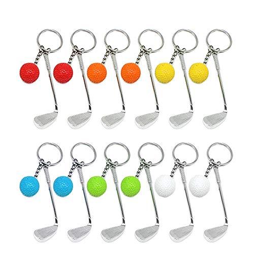 Creatiees 12 Stücke Mini Golf Schlüsselanhänger mit Golfschläger Schlüsselring und Golfball Golfgeschenk Geschenk Schlüs