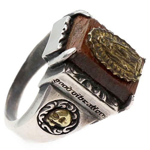 スクエア マリアリング アラベスク スカル 聖母マリア メンズ シルバーリング ウッド素材 メンズアクセサリー シルバー925 スターリングシルバー 指輪 銀 男性 女性