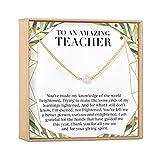 Teacher Christmas Necklace - Heartfelt Card & Jewelry Gift Set (Pearl Gold)