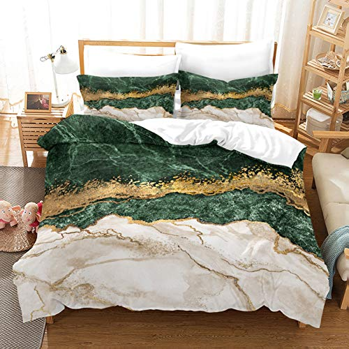 QXbecky Red, Blue, Green, Black and White Gold Marble Pattern 3D Digital Bedding Soft Microfiber Quilt Cover Pillowcase 3-Piece Set for Two