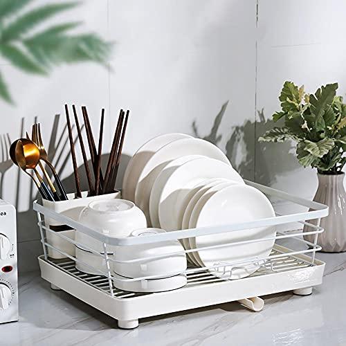 Haucy Escurridor de platos con caja para cubiertos, escurreplatos de metal para platos y cubiertos, 39 x 23,5 x 12 cm, color blanco