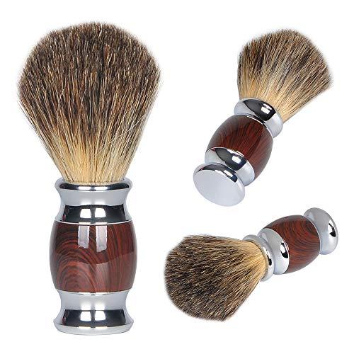 100% Pure Badger Shaving Brush, Handmade Badger Hair Shave Brush for Men with Metal Handle, Professional Hair Salon Tool Wet Shaving