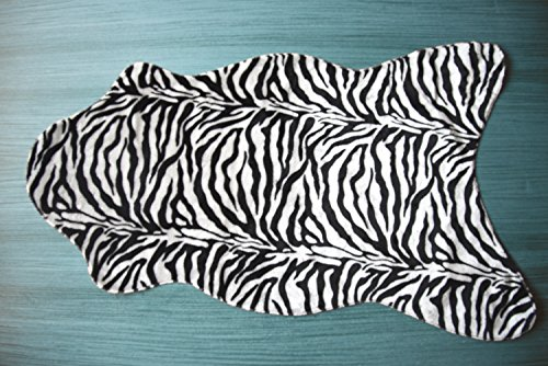 Fabelia Tierfell-Teppich Ameiny - Wildtiere Kunstfell - als Teppich, Sofa-Auflage, für Kostüme und Karnevalsmaterial (75 cm x 125 cm Tierform, Zebra)