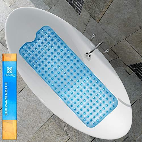 Cojín para bañera de Heimelig – Alfombrilla antideslizante para bañera con ventosas – Alta calidad, incluye 4 ganchos adhesivos para colgar y secar – Sello Dermatest
