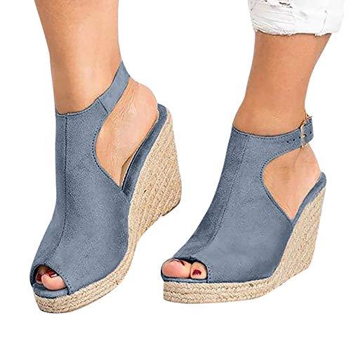 Heroine Sexy Sandalias Zuecos Zapatillas Mujer Suaves Punta Abierta Planas para Exteriores Antideslizantes Zapatos de Playa de Verano Diapositivas Informales, Azul,38