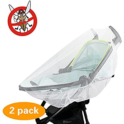 2 Pack Mosquito Net, KOMIWOO Bug Insect Netting for Baby Strollers Bassinets Infant Carriers Car Seats Cover, White