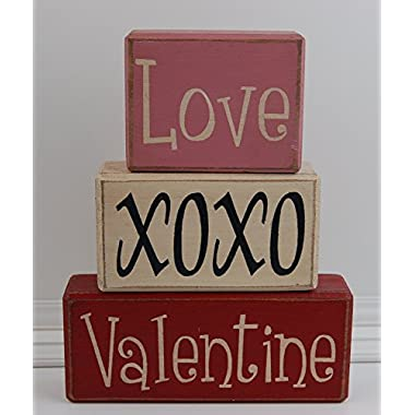 LOVE XOXO VALENTINE - Happy Valentine's Day - Love Tree - Primitive Country Wood Stacking Sign Blocks Seasonal Valentine Home Decor