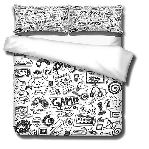 Three-piece bedding set that can be DIY customized Juego de cama funda nórdica de y funda de almohada Diseño de apertura y cierre de cremallera invisible, no es fácil de dañar.,200x200(79x79in