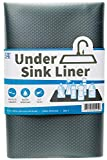 S&T INC. 512401 Plastic Under Sink Mat Shelf Liner, Non-Adhesive and Waterproof Cut to Fit for Kitchen and Bathroom, 24 Inch x 48 Inch, Charcoal