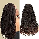 6 Packs 90g/Pack 18inch Soft Ombre Pre-Looped Nu Faux Locs Crochet Hair for Black Women Synthetic Crochet Dreadlocks Curly Wavy Nu Faux Locs Crochet Braids Hair Extensions T1B/30 Color