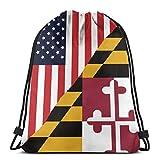 Flagge der USA und Maryland State Unisex Outdoor Rucksack Umhängetasche Sport Drawstring Rucksack Tasche