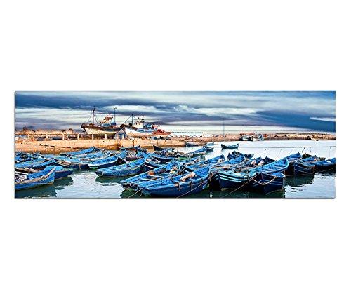 Afbeelding muurschildering - kunstdruk 120x40cm Marokko zee haven boten wolkenhemel