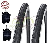 Deestone EBA28BCD 2 COPERTONI BIANCONERO + 2 CAMERE d'Aria per Bicicletta Bici City Bike Trekking 700 X 35 28 1 5/8 3/8 (37-622)