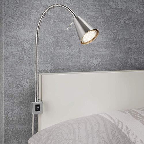 Briloner Leuchten LED Bettleuchte, Bettlampe Flexarm, inkl. An-/Ausschalter, 4 Watt. 400 Lumen, 3.000 Kelvin, 4 W, Matt-Nickel