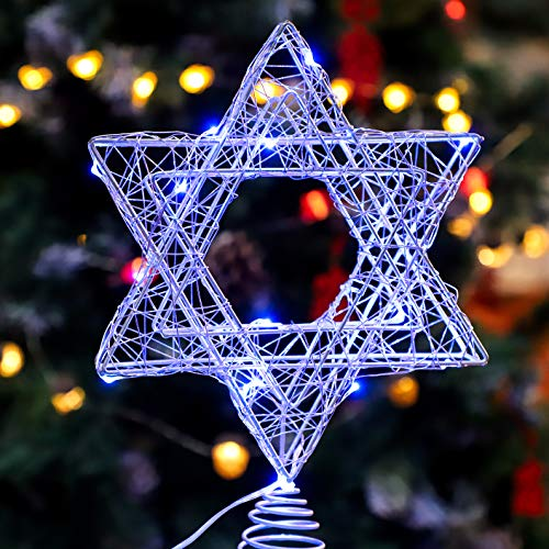 Holitown Metal Christmas Tree Topper, 7inch Silver Hexagram Tree Topper with 20LED for Christmas Indoor Decoration,Festival Celebration,Home Decor (Blue)