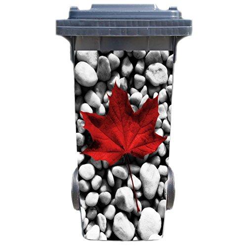 SHIRT-TO-GO Aufkleber für Mülltonne Mülltonnenaufkleber - Motiv Red Leaf