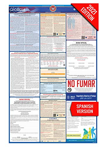 GA Labor Law Poster, 2021 Edition - State, Federal and OSHA Compliant Laminated Poster (Georgia, Spanish)
