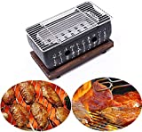 Cast Iron Grill,Table Top Portable Charcoal Grill Japanese Grill at Home, Yakitori Grill BBQ...