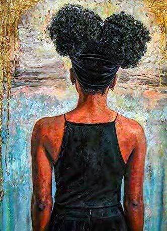 Kits de pintura de diamante para adultos chica africana espalda afro cuadrado completo taladro mosaico arte 5D punto de cruz belleza para la decoración de la pared del hogar 30x40cm