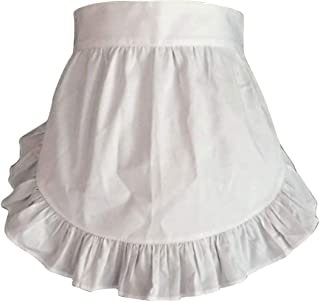 CRB Fashion Waist Apron Kitchen Cooking Restaurant 100% Cotton Bistro Half Aprons with Pockets for Girl Woman (White)