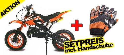 "Dirtbike Apollo 49cc 10"" Crossbike Pocket Minicross Motorcross Orange"
