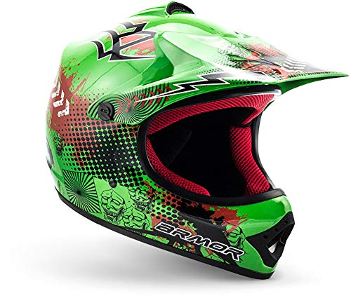 "armor HELMETS® AKC-49 ""Green"" · Kinder Cross-Helm · Motorrad-Helm MX Cross-Helm MTB BMX Cross-Bike Downhill Off-Road Enduro-Helm Moto-Cross Sport · DOT Schnellverschluss Tasche XS (51-52cm)"