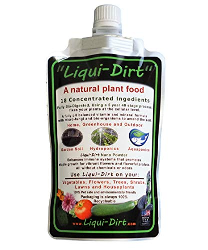 LiquiDirt Nano Powder All-Purpose Organic Complete Plant Food for Indoor or Outdoor Use (Makes 45 gallons)18 Balanced Super Foods - Balanced Blend of Vitamins Minerals Micro-Fungi and Bio-Organisms
