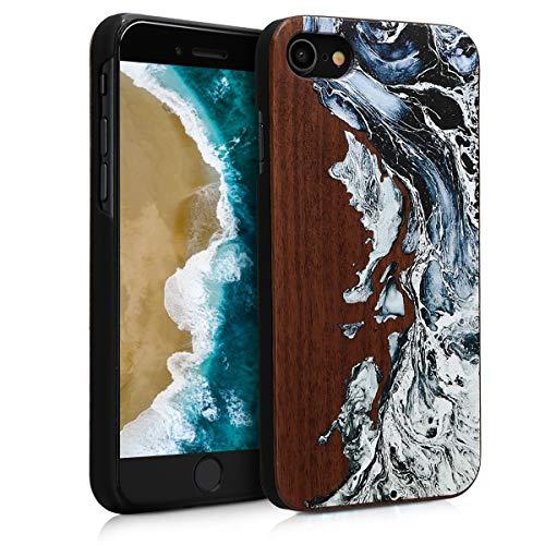 kwmobile Cover Compatibile con Apple iPhone 7/8 / SE (2020) - Custodia Protettiva in Legno - Back Case Posteriore per Smartphone - Onda Bianco/Nero/Marrone