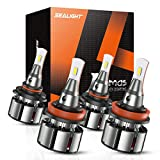 SEALIGHT 9005/HB3 High Beam H11/H9 Low Beam Combo LED Headlight Bulbs, 16000 Lumens, 6000K Cool White, Pack of 4