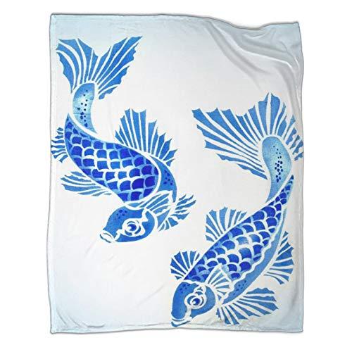 Koi Carp Manta de porcelana azul y blanco a rayas, 130 x 180 cm, ligera, acogedora, súper suave y cálida para sofá de cama