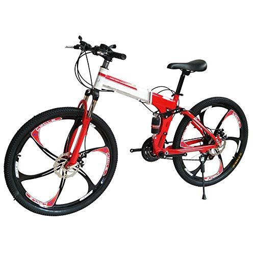 YLLN Doppelscheibenbremsen Double Shock Absorption Faltbares Einrad Mountainbike für Männer und Frauen für Erwachsene (rot)