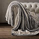 Eikei Luxury Faux Fur Throw Blanket Super Soft Oversized Thick Warm Afghan Reversible to Plush Velvet in Tan Grey Wolf, Cream Mink or Blush Chinchilla, Machine Washable (Timberwolf, Double Sided)