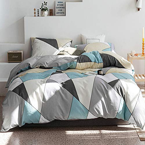 HIGHBUY 100% Natural Washed Cotton Duvet Cover Set Queen Geometric Plaid Pattern Luxury Soft Full Bedding Sets with Zipper Closure 3 Piece Green White Grid Reversible Comforter Cover for Boys Men