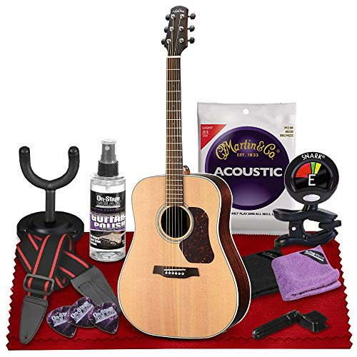 Walden D800E Natura All-Solid Sitka & Rosewood Dreadnought Acoustic-Electric Guitar (Satin Natural) with Gig Bag, Strap, Strings, Tuner, and More Perfect for Musicians