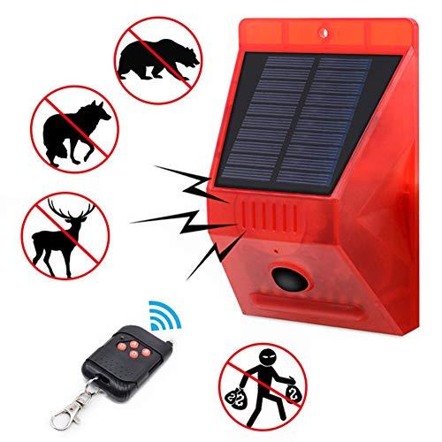MCLseller Luz estroboscópica Solar con Detector de Movimiento, luz de Alarma Solar con Control Remoto, luz de Sirena de Seguridad de Sonido de 129db, Resistente al Agua para el hogar, Granja, Granero