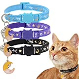 Barleygoo 3PCS Breakaway Cat Collars with Bells Golden Moons and Stars Adjustable Safety Puppy Collar Glow in The Dark with Pendant Black Blue Purple