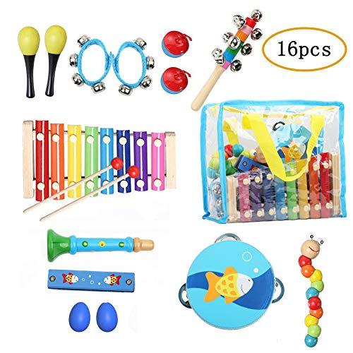 YZCX Strumenti Musicali per Bambini 16 Pezzi con Sacca Portaoggetti Giocattolo in Legno Xilofoni Tamburi e Percussioni Regalo di Compleanno Natale (Style 2)
