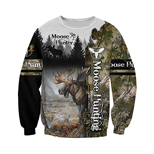 Moose Hunting Camo 3D Print Hoodies Hombres/Mujeres Harajuku Sudadera con Capucha Otoño Hoody Casual Streetwear Hoodie Color as The picture1 5XL