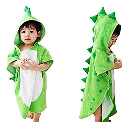 OAMORE, Toalla de bebé transpirable, Albornoces de dibujos animados infantiles, Toallas de baño de toalla con capucha dinosaurios poligonales, Verde