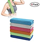 SIMSIMY 6 Pack Cooling Towel, Ice Towel for Neck Instant Cooling, Chilly Towel for Men Women Kids, Super Absorbent Microfiber Towel for Athletes, Workout, Sports, Fitness, Gym, Running, Camping