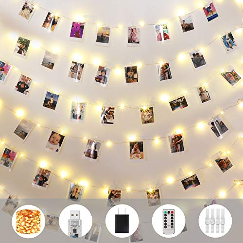 Innotree Fairy Lights USB Plug in, 100 LED 33Ft Copper Wire Photo String Lights with 50 Clips for Hanging Pictures, Perfect Home Dorm Bedroom Party Wedding Christmas Decoration, Warm White