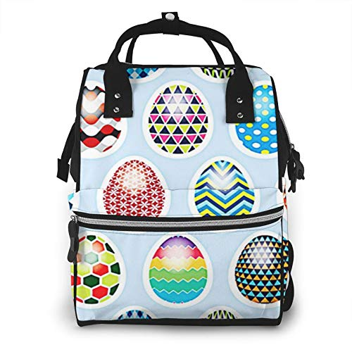 Nappy Changing Bag Backpack, Large Diaper Bags April Easter Egg Multi-Function Waterproof Maternity Nappy Back Pack for Baby Care Mom Dad Travel