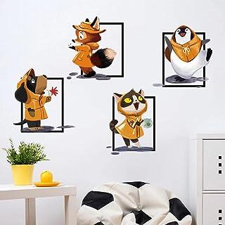 Cartoon Animals It's Raining Wall Sticker Dogs Cats Fox Penguins Art Decals Kids Rooms Bedroom Living Room Stickers Home D...
