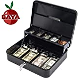 BAYA Cash Box with Money Tray | Key Lock | Tiered Coin Tray with Lid | Steel...