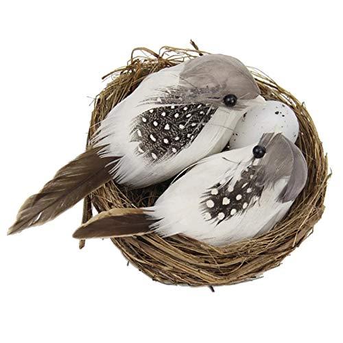 TSMALL 1 Juego de pájaros, nidos y Huevos con Plumas Artificiales, Escultura de pájaros artesanales creativos, Adornos para el césped, decoración del césped del jardín del hogar
