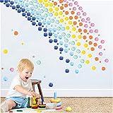 KAIRNE 246 pegatinas de pared multicolor con lunares de acuarela para habitación infantil, diseño de lunares extraíbles, para dormitorio de niñas, colores pastel