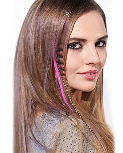 "SARLA Syntheic Feather Hair Extensions 16"" 100pcs I-tip Highlight Colored Colorful Hair Extension Hairpieces For Girl Hair Piece (Hair extension, green) 5"