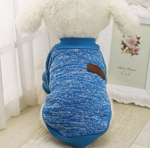 Sonpo Suéter de Invierno para Cachorro de Cachorro de Moda suéter Caliente Camisa Ropa para Mascotas pequeñas (Azul)