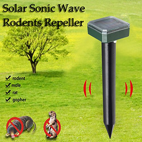 AutumnFallUltrasonic Animal Repeller,Solar Charging Ultrasonic Garden Lawn Pest Repeller Waterproof Outdoor Drive Device for Cats,Dogs,Snake,Mouse (Black)